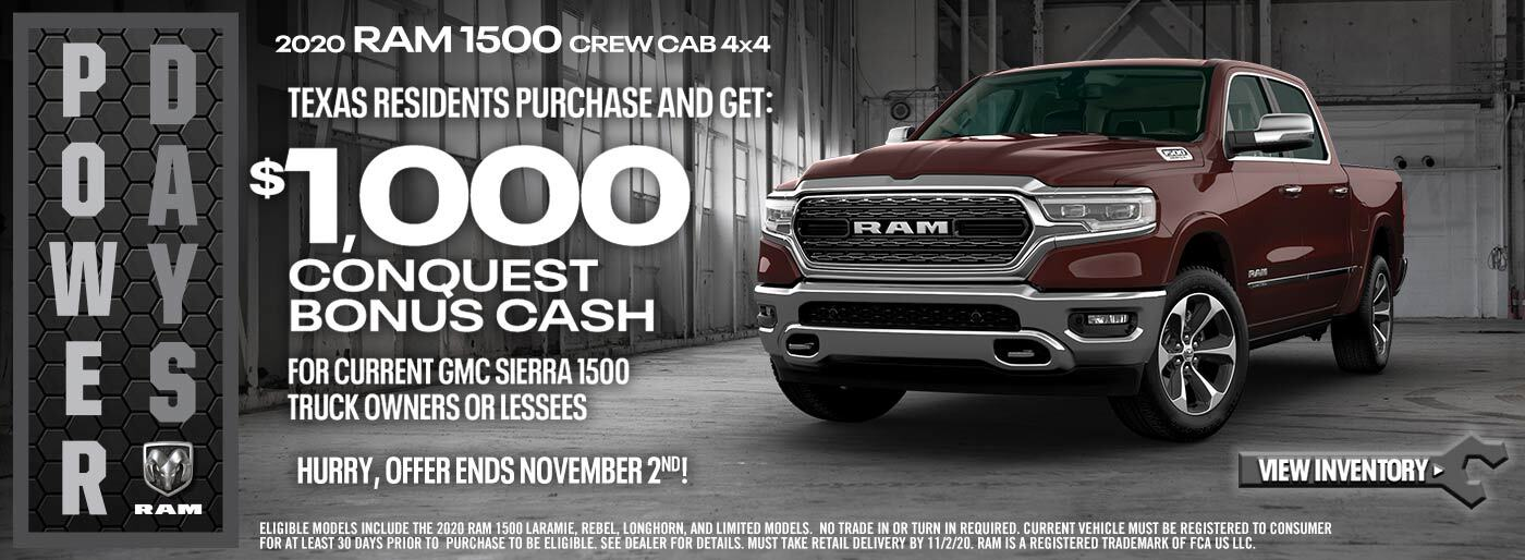 Ram 1500 Texas Residents $1000 GMC Conquest Cash