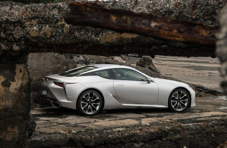 2021 Lexus LC parked on rock