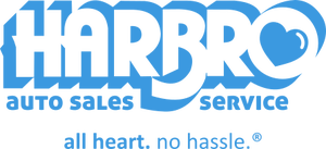 harbro auto sales logo - used car dealership in massachusetts. all heart. no hassle.