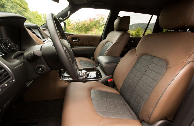 Leather front seats and steering wheel of 2020 Nissan Armada