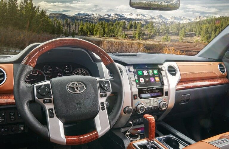 Interior view of the front seating area inside a 2020 Toyota Tundra