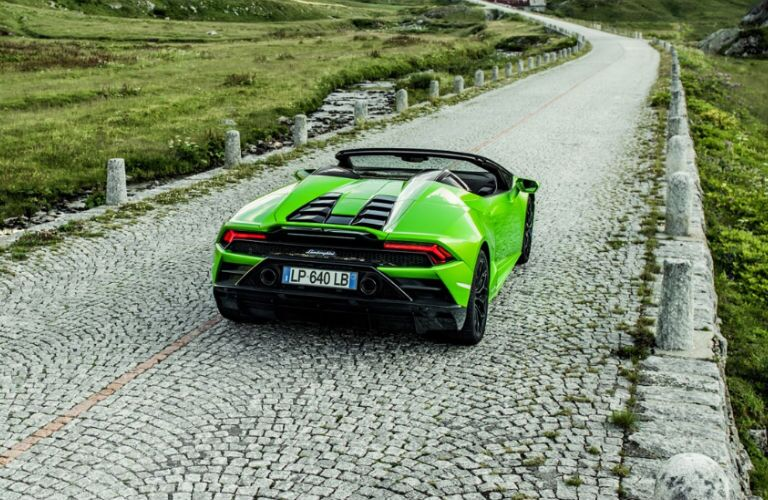 2020 Lamborghini Huracan EVO Spyder rear in green