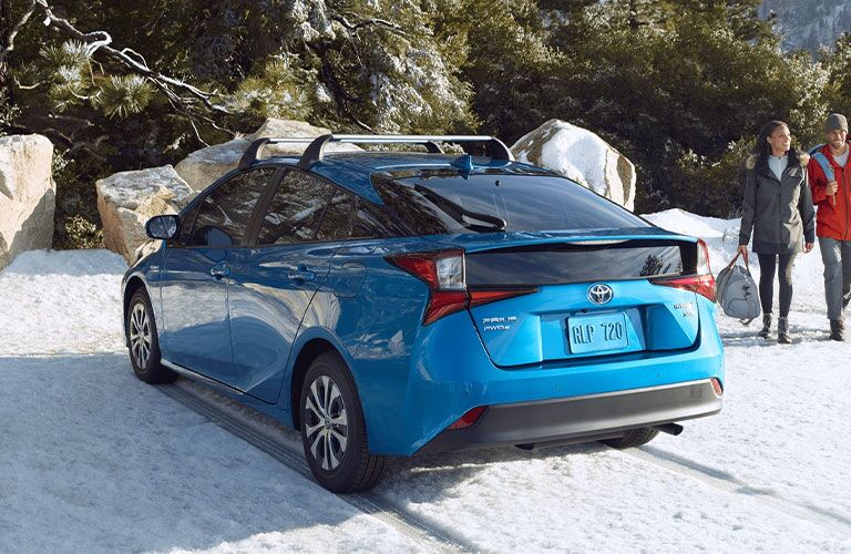 2021 Toyota Prius from exterior rear in snow