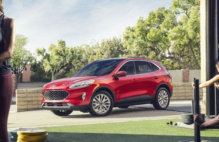 Profile view of red 2020 Ford Escape
