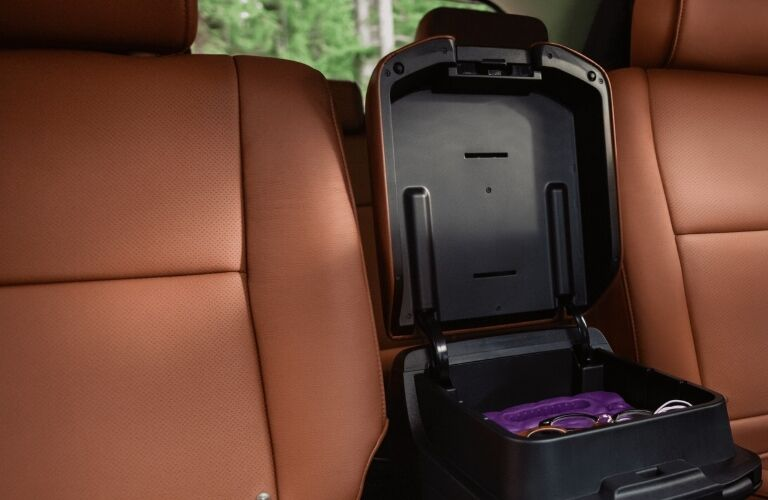 2021 Toyota Sequoia front seats and storage compartment