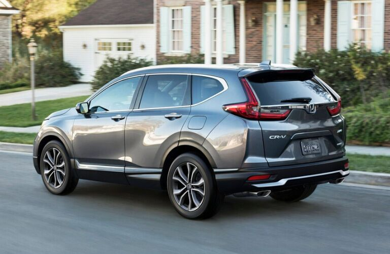 Rear view of silver 2020 Honda CR-V Touring