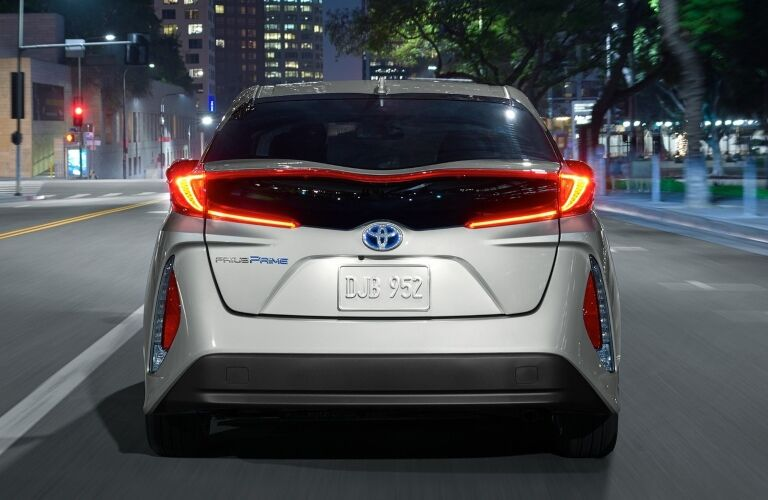 rear of silver 2021 Toyota Prius in the city