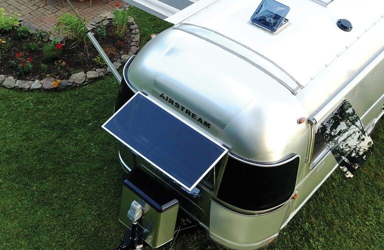 The front and top view of the solar panels on the 2021 Airstream Globetrotter®.