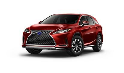 Exterior of the Lexus RXL Hybrid shown in Matador Red Mica.