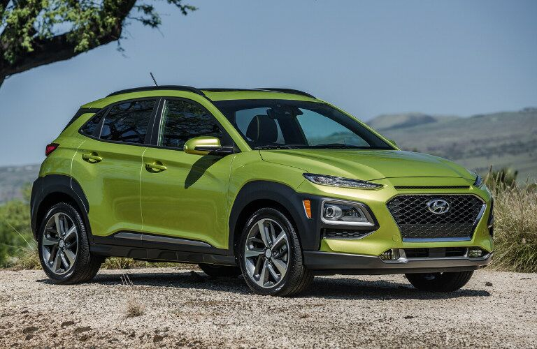 Front view of 2020 Hyundai Kona in Lime Twist