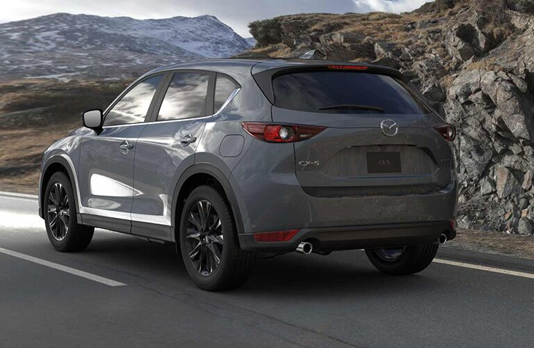 The rear view of a 2021 Mazda CX-5 Carbon Edition Trim.