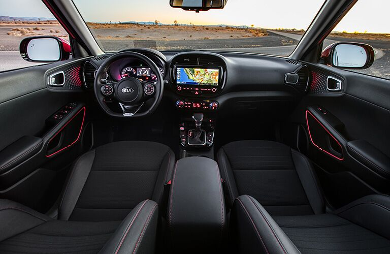Interior view of the front seating area inside a 2020 Kia Soul
