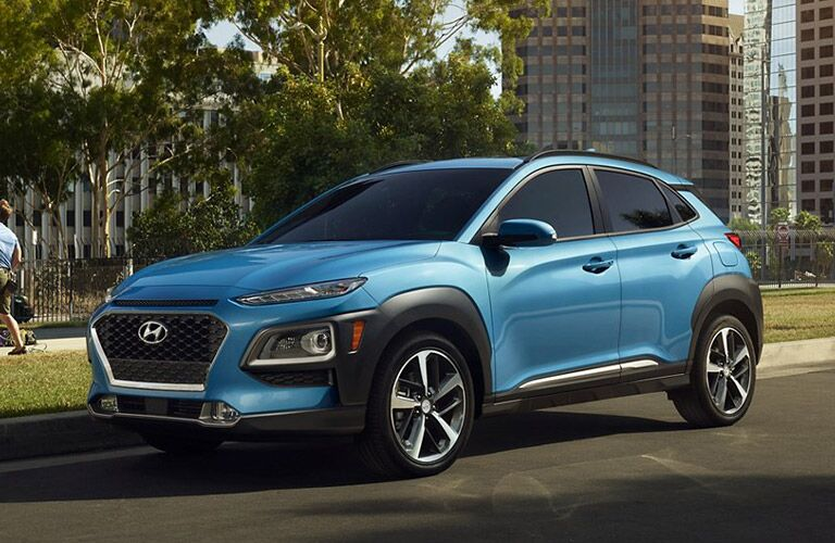 2021 Hyundai Kona exterior front fascia driver side in front of city