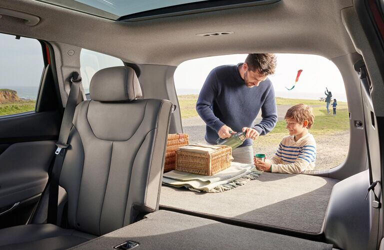 2020 Hyundai Santa Fe interior rear cabin half of seat folded down with father preparing food for son in cargo space