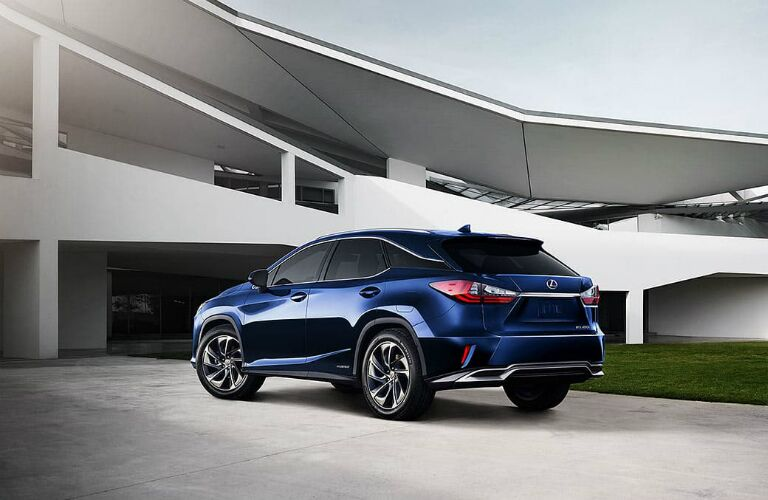 Exterior angled view of a blue parked 2019 Lexus RX L.
