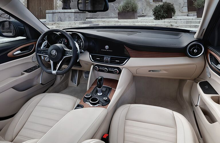 2020 Alfa Romeo Giulia dashboard and steering wheel