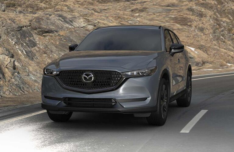 The front view of a rendering of a 2021 Mazda CX-5 Carbon Edition.