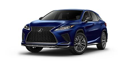 Exterior of the Lexus RX F SPORT shown in Nightfall Mica.