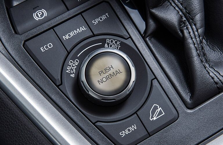 closeup of 2020 Toyota RAV4 drive mode control