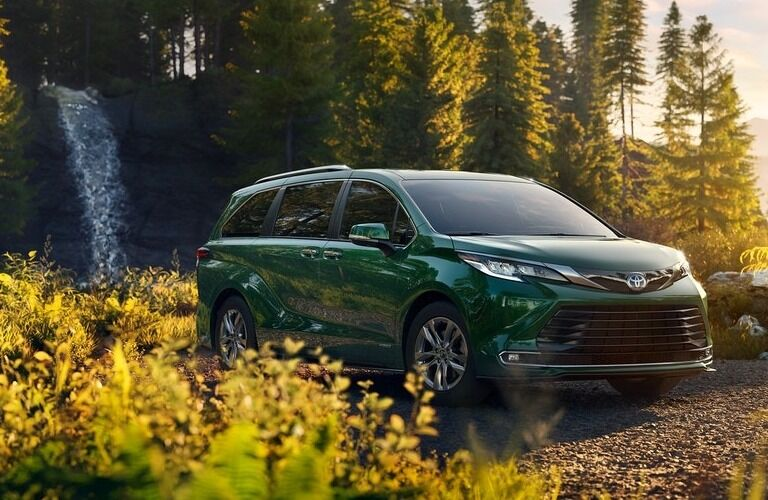 2021 Toyota Sienna with waterfall in the background