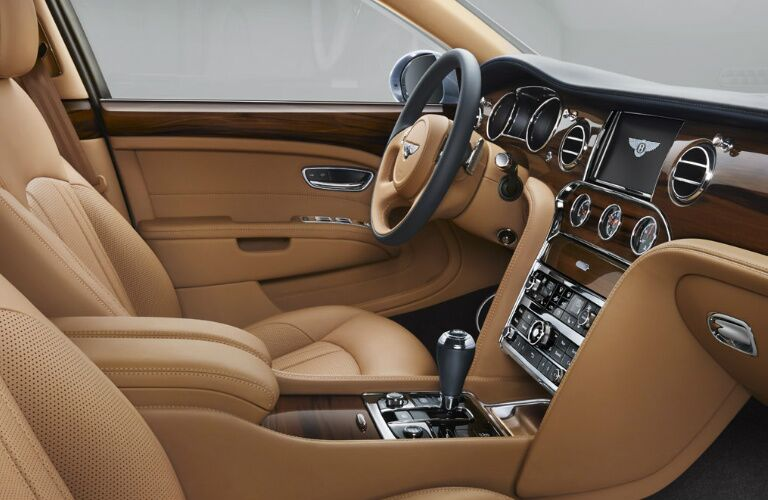 Brown dashboard and front seats in 2020 Bentley Mulsanne