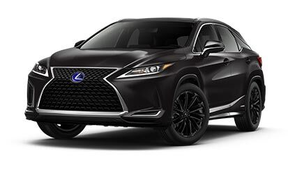 Exterior of the Lexus RXh AWD Black Line Special Edition shown in Caviar.