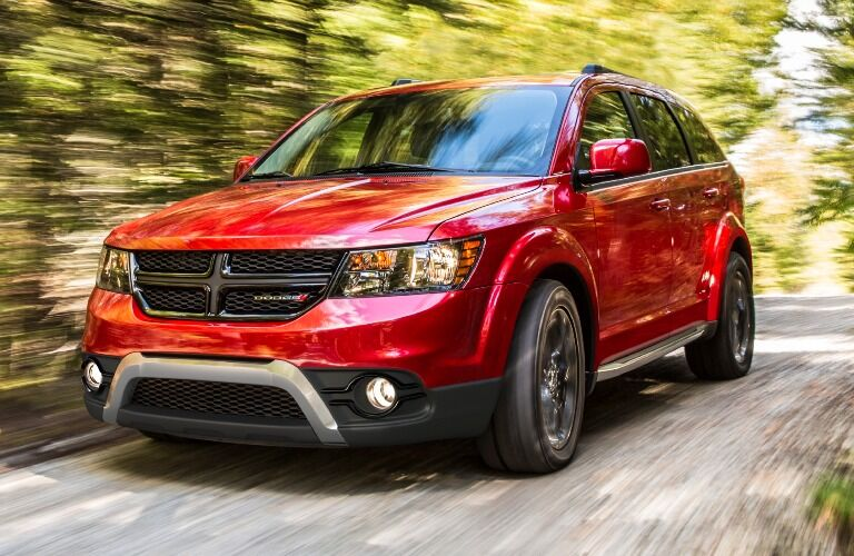 2020 Dodge Journey flying through the forest