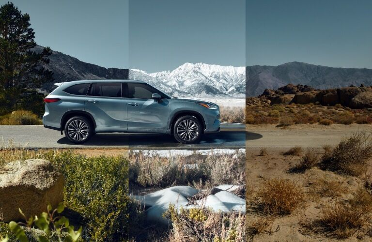 2020 Toyota Highlander driving through all of the elements