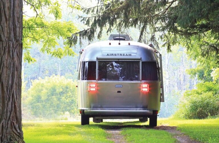 A rear exterior view of a 2021 Airstream Globetrotter®.