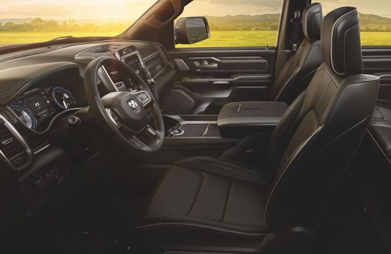 2020 RAM 1500 black leather front and back seats
