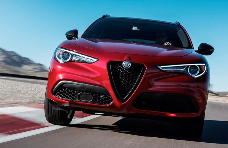 2020 alfa romeo stelvio heading toward camera