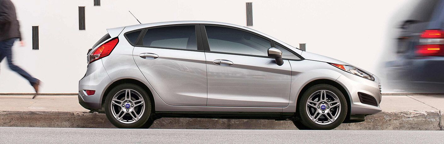 Side view of silver 2019 Ford Fiesta