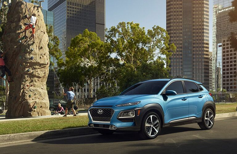 Blue 2020 Hyundai Kona parked on city street