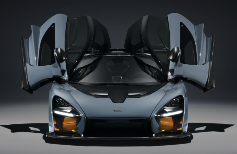 Butterfly doors opened on blue 2019 McLaren Senna