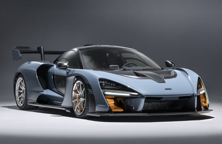 Front view of light blue 2019 McLaren Senna