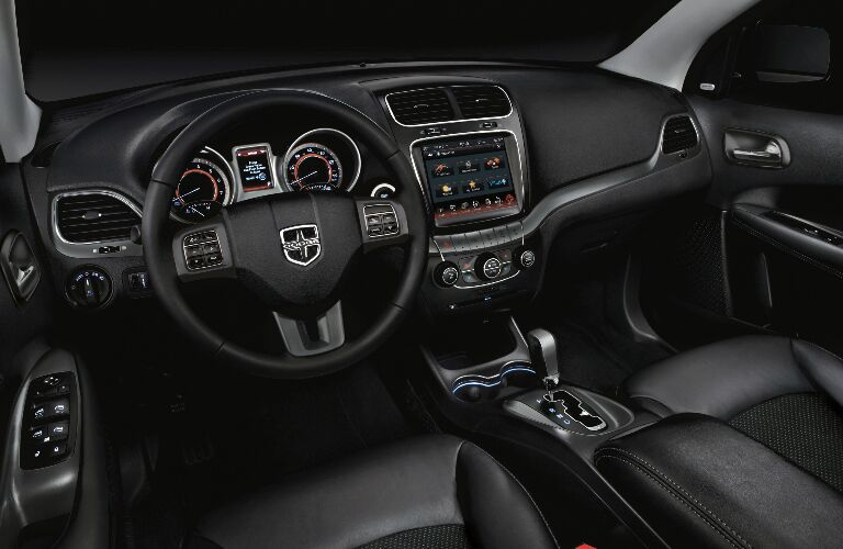 Black dashboard and front seats in 2020 Dodge Journey