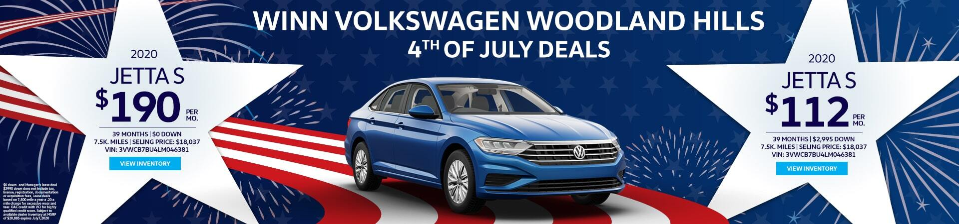 4th of Jully Jetta S Lease deals