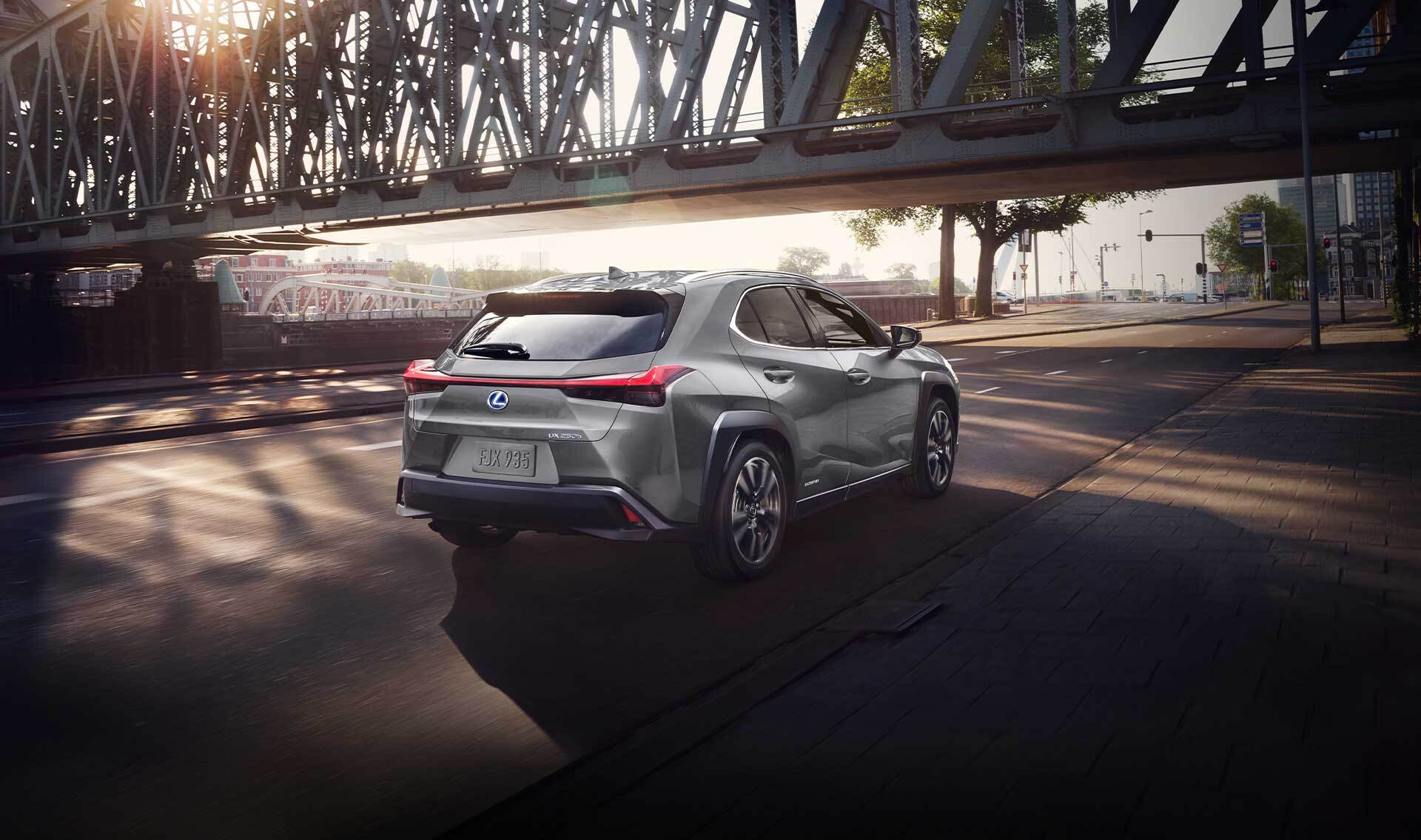 Exterior of the Lexus UX Hybrid shown in Atomic Silver.