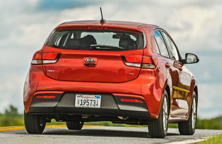Rear view of red 2020 Kia Rio 5-Door
