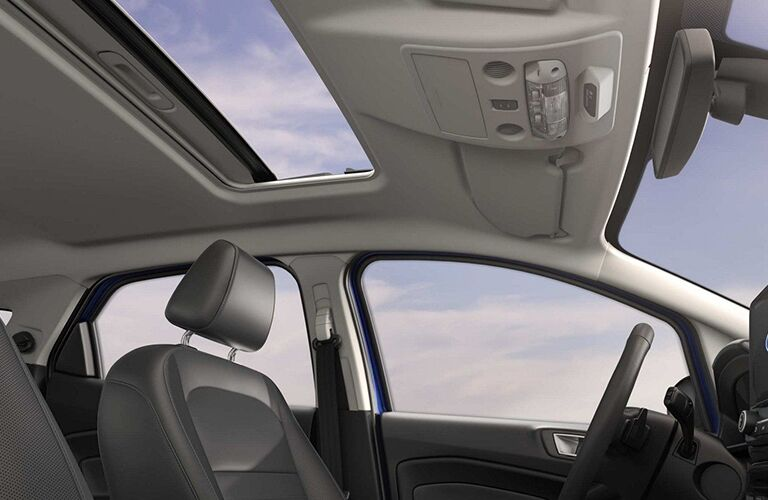Panoramic sunroof and front seats of 2019 Ford EcoSport
