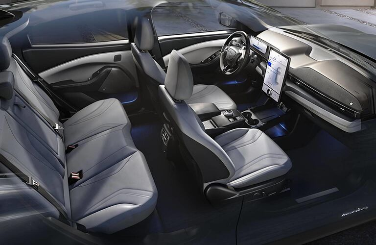 The interior seating inside the 2021 Ford Mustang Mach-E.