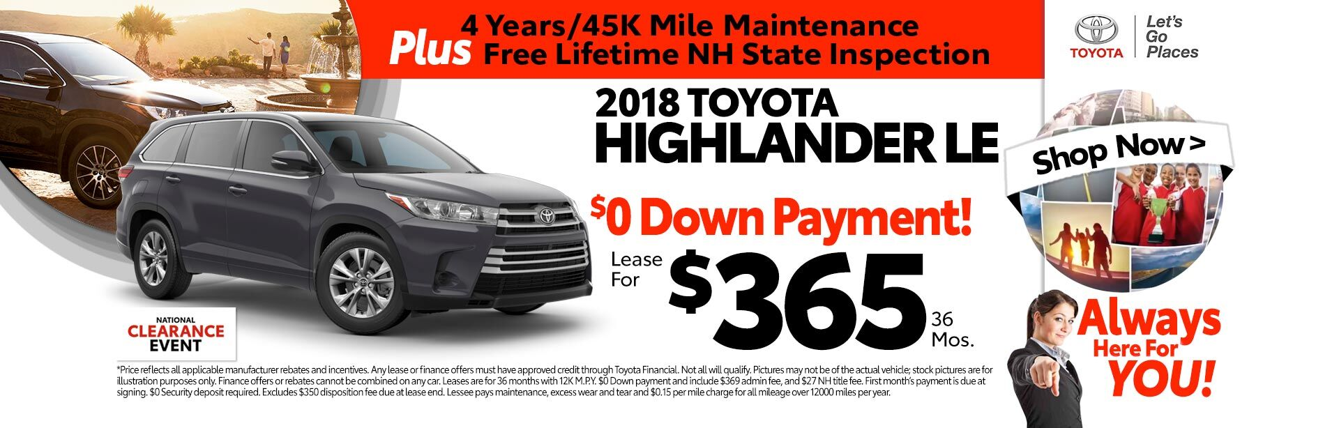 2018 Toyota Highlander LE for as low as $365 a month for 36 months