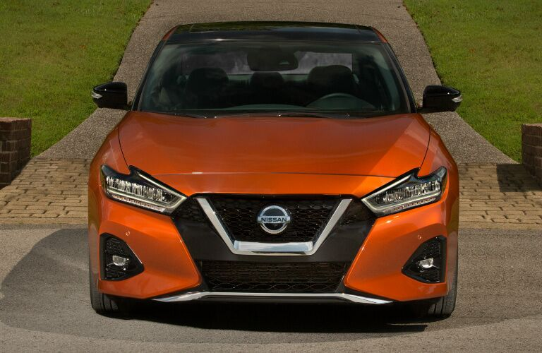 Front view of orange 2020 Nissan Maxima