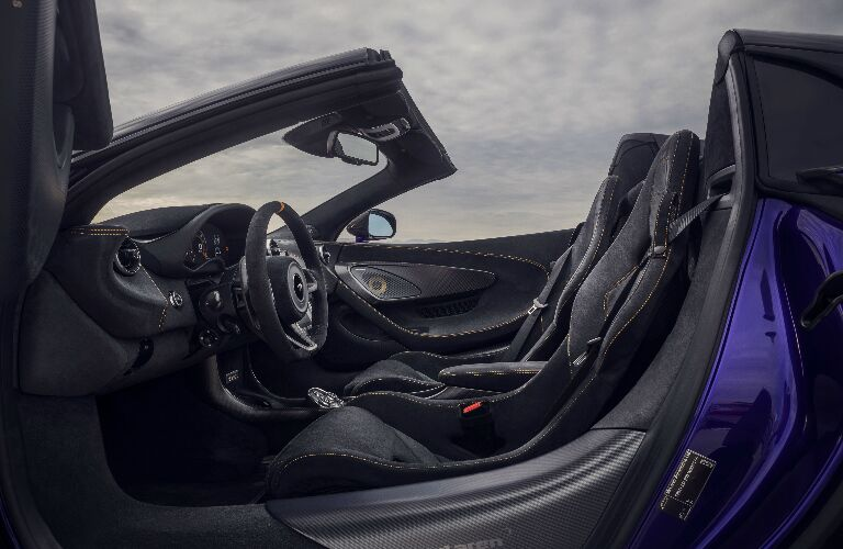 Grey dashboard and seats in 2020 McLaren 600LT Spider