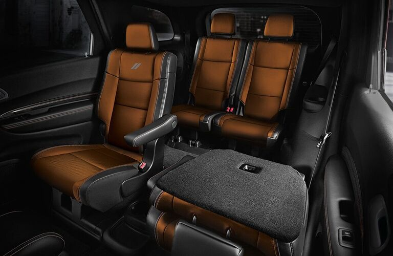 Interior view of the rear seating and cargo area inside a 2020 Dodge Durango