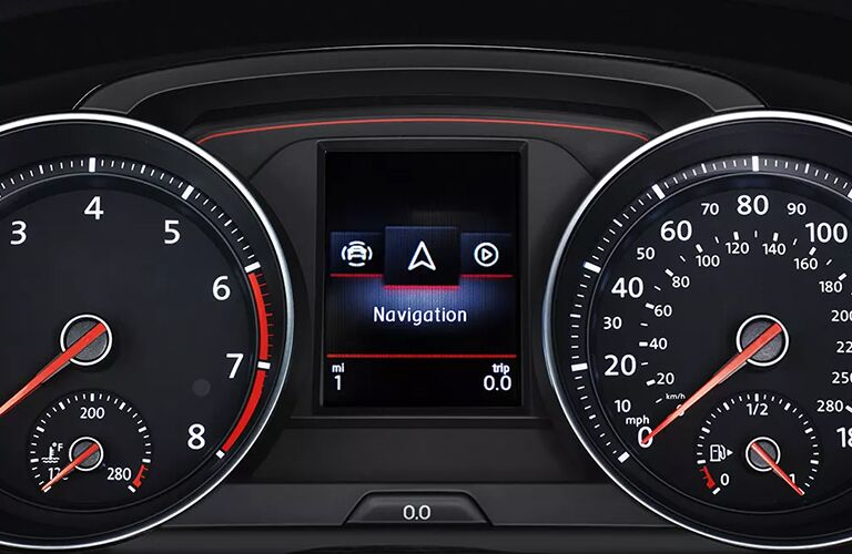 An interior view of the instrument cluster inside a 2021 Volkswagen Golf GTI.