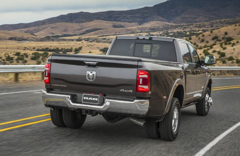 Rear view of grey 2020 Ram 3500