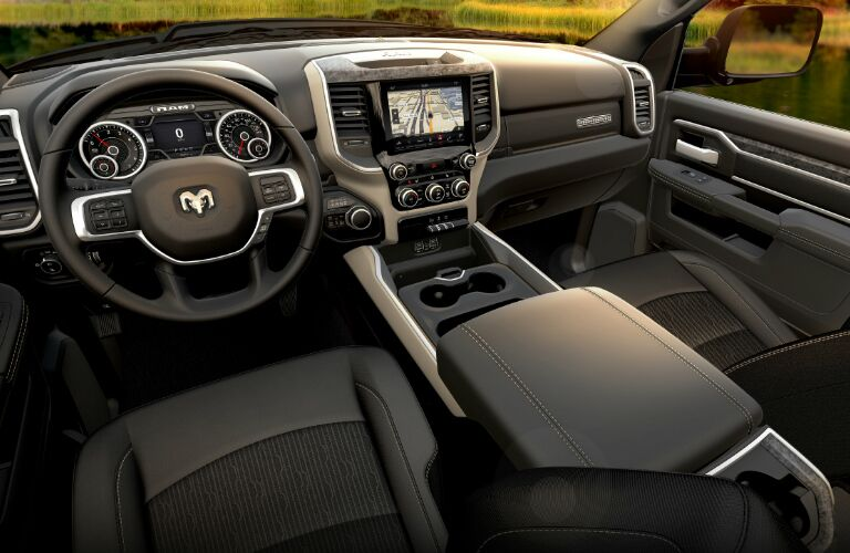 Grey dashboard and front seats in 2020 Ram 3500