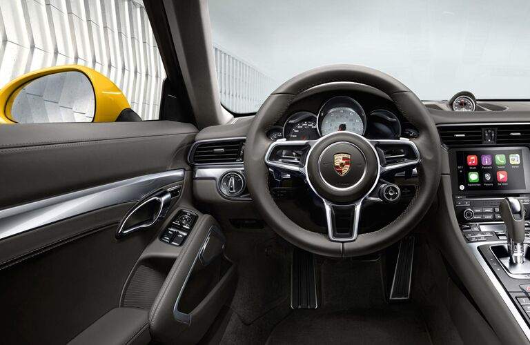 steering wheel of 2019 Porsche 911 Carrera