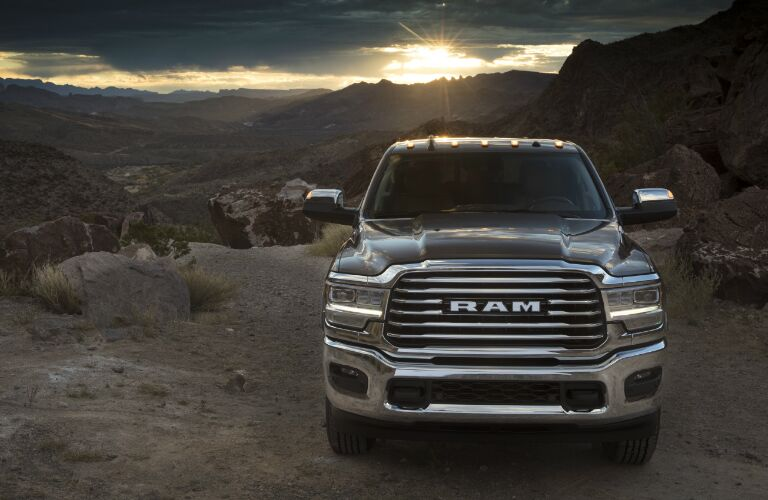 Grey 2020 Ram 2500 with the sun setting in the background